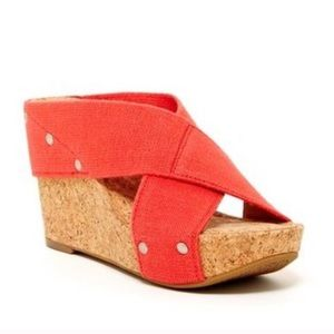 Lucky Brand Miller 2 Red Cork Wedge Sandal